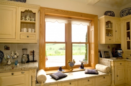 Wood Sliding Sash Kitchen Cabinet